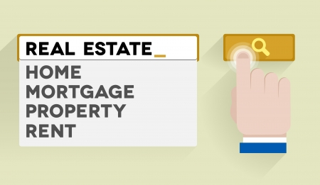 minimalistic illustration of a search bar with real estate keyword and associations