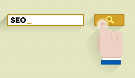 minimalistic illustration of a search bar withSEO keyword and hand over the button