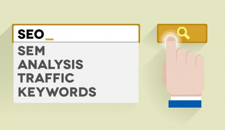 minimalistic illustration of a search bar with SEO keyword and associations Vector
