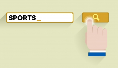 minimalistic illustration of a search bar with sports keyword and hand over the button Vector