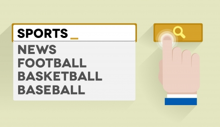 text field: minimalistic illustration of a search bar with sports keyword and associations