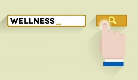 minimalistic illustration of a search bar with wellness keyword and hand over the button Vector