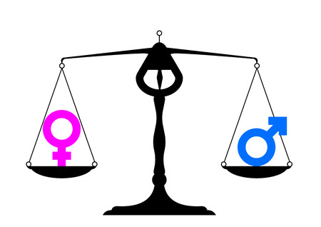 simpe illustration of a balance with icons for man and woman on equal ground, symbol for gender equality Vector
