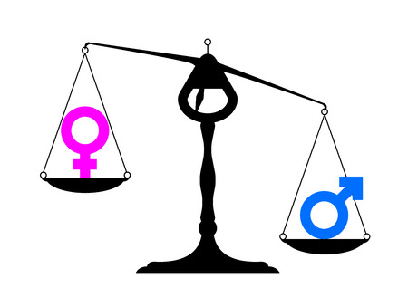 simpe illustration of a balance with icons for man and woman on equal ground preferring the mans site, symbol for gender equality Vector