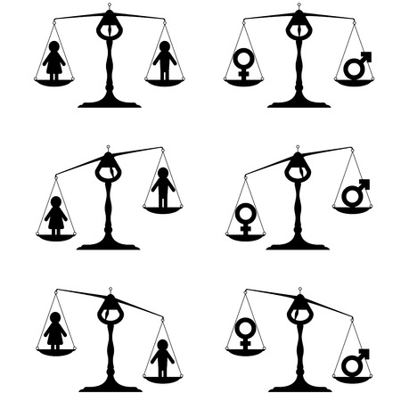 simpe illustrations of a balance with icons for man and woman with different weightings, symbol for gender equality Vector