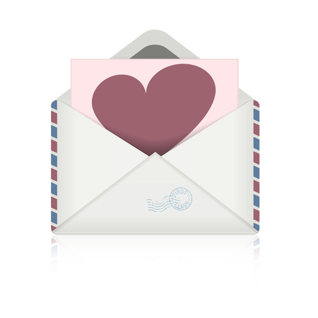 detailed illustration of an open envelope with heart-Symbol Illustration