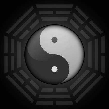 karma design: detailed illustration of yin yang symbol with bagua octagon Illustration
