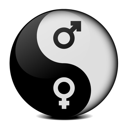equal to: detailed illustration of yin yang symbol with gender icons, symbol for gender equality