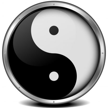 yinyang: illustration of a metal framed yinyang symbol