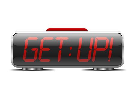 """get up: illustrazione dettagliata di una sveglia digitale con termine """"alzarsi"""" invece di cifre"""
