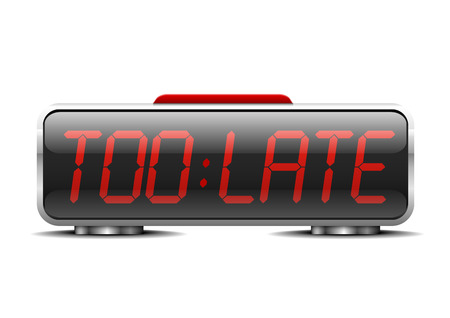 detailed illustration of a digital alarm clock with term too late instead of digits Vector