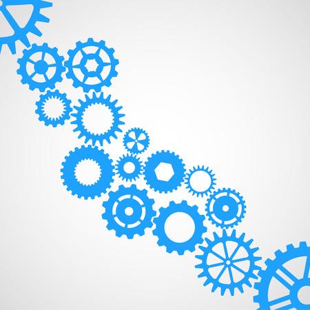 illustration of blue cogwheels on a white background