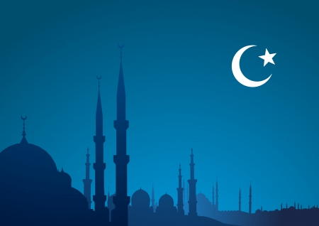 islam moon: detailed illustration of a blue religious background with mosque and crescent moon