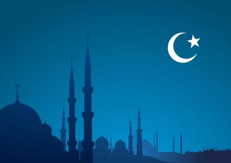 gedetailleerde illustratie van een blauwe religieuze achtergrond met moskee en halve maan