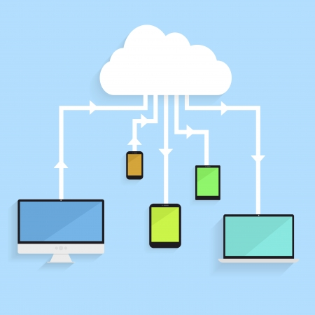 minimalistic illustration of different electronic devices with connection to the cloud, symbol for cloud networking Vector