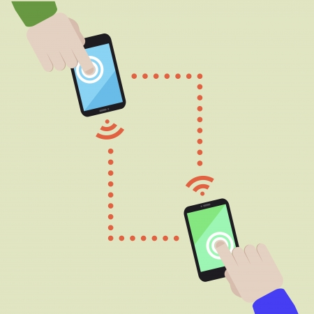 minimalistic illustration of wireless data exchange between two mobile phones Vector