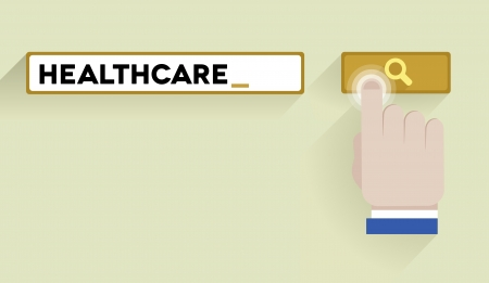 minimalistic illustration of a search bar with healthcare keyword and hand over the button Vector