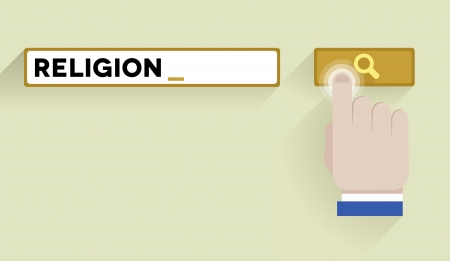 minimalistic illustration of a search bar with religion keyword and hand over the button Vector