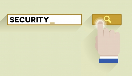 minimalistic illustration of a search bar with security keyword and hand over the button Vector