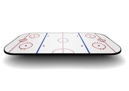 detailed illustration of an icehockey court with perspective