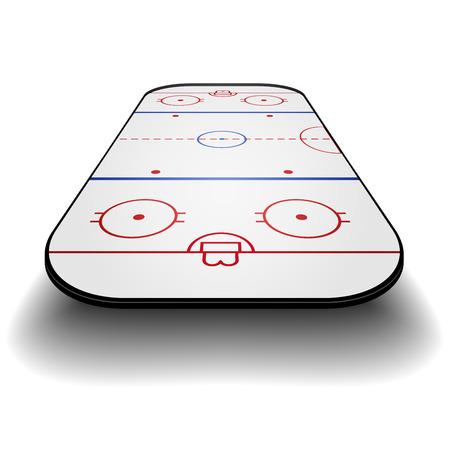 정면: 정면 관점 icehockey 법원의 자세한 그림