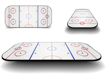 detailed illustration of a set of icehockey courts with different perspectives