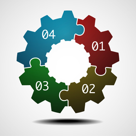 illustration of a cogwheel infographic template with four options Ilustrace