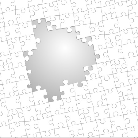 detailed illustration of a jigsaw puzzle with left out space
