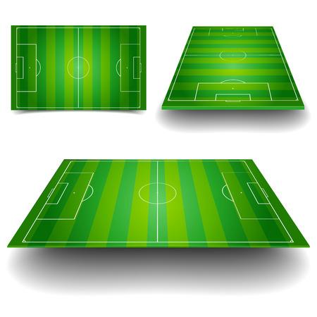 異なる視点を持つサッカー フィールドの詳細なイラスト  イラスト・ベクター素材