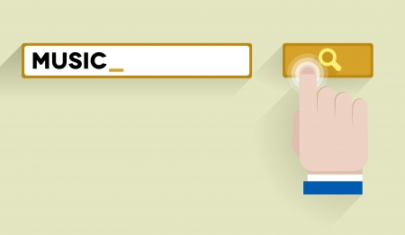 keyword: minimalistic illustration of a search bar with music keyword and hand over the button, eps10 vector