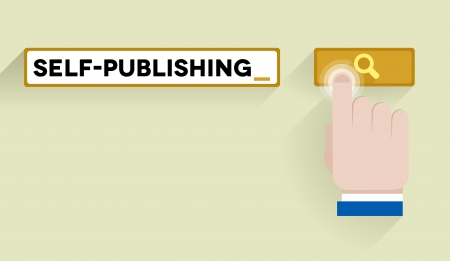 minimalistic illustration of a search bar with self-publishing keyword and associations, eps10 vector Vector