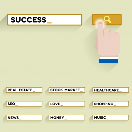 set of minimalistic illustrations of a search bar with keywords and hand over the button, eps10 vector Vector