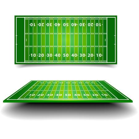 sideline: ilustraci�n detallada de un campo de f�tbol americano con perspectiva, vector eps10 Vectores
