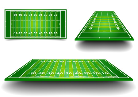 detailed illustration of American Football fields with different perspective, eps10 vector Vector