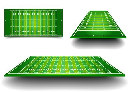pelotas de futbol: ilustraci�n detallada de los campos de f�tbol americano con una perspectiva diferente, vector eps10