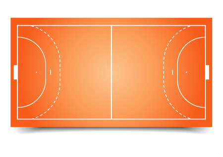 terrain de handball: illustration détaillée d'un terrain de handball, eps10