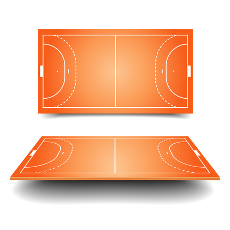 handball: detailed illustration of a handball field with perspective, eps10 vector