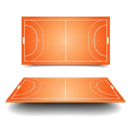 terrain de handball: illustration détaillée d'un terrain de handball avec la perspective, eps10