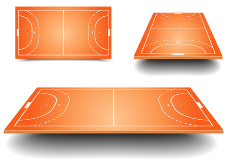 indoors: detailed illustration of a handball fields with perspective, eps10 vector Illustration