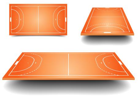 terrain de handball: illustration détaillée d'un handball champs avec la perspective, eps10 Illustration