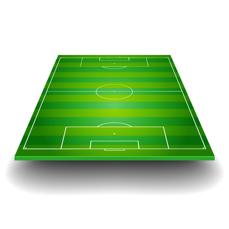 football kick: detailed illustration of a soccer field with front perspective, eps10 vector