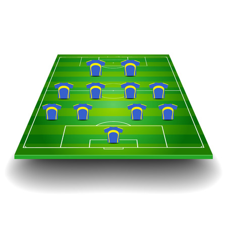 detailed illustration of a soccer field with team formation Illustration