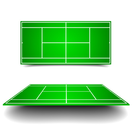 tennis net: detailed illustration of tennis courts with different perspectives Illustration