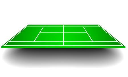 hard court: detailed illustration of a tennis court with perspective, eps10 vector Illustration