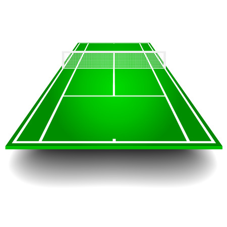 detailed illustration of a tennis court with frontal perspective, eps10 vector Vector