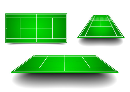 hard court: detailed illustration of tennis courts with different perspectives, eps10 vector