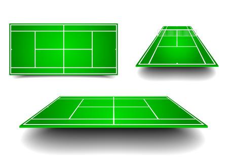 illustration détaillée de courts de tennis avec des perspectives différentes, eps10