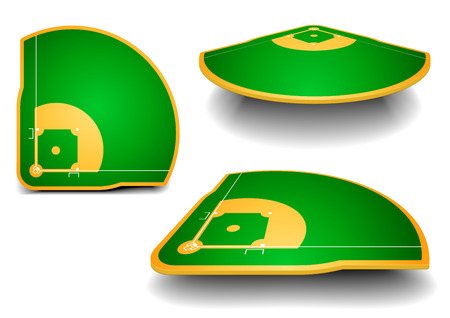 baseball diamond: detailed illustration of baseball fields with perspective