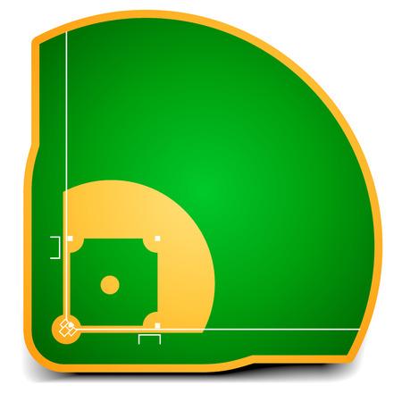 at bat: ilustración detallada de un campo de béisbol