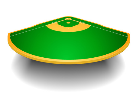 detailed illustration of a baseball field with perspective   Vector